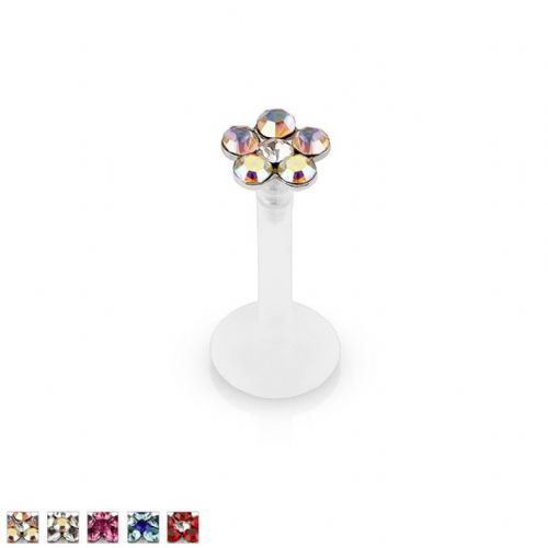 Press-Fit Gem Flower Bio-Flex Labret Stud